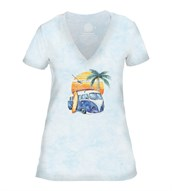 Retro Surf Womens V-Neck, BLÅ