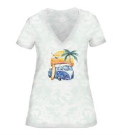 Retro Surf Womens V-Neck, GRØN