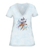 Ride the Waves Women V-Neck, BLÅ
