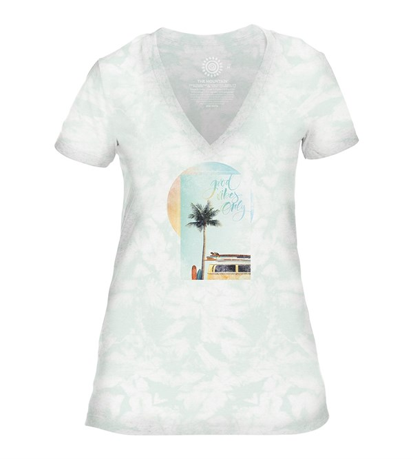 Good Vibes Womens V-Neck, GRØN