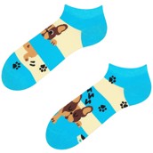 Good Mood adult low socks - DOGS & STRIPES