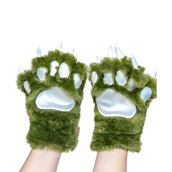 Green Dino Paw Mitts, Child Small