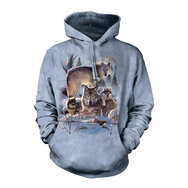 Wolf Family Mountain Adult hoodie, 2XL