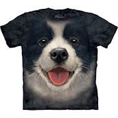 The Mountain tshirt - bluse med Border Collie hvalp