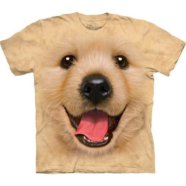 The Mountain tshirt - bluse med Golden Retriever hvalp