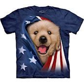 The Mountain tshirt - bluse med Golden Retriever hvalp tryk