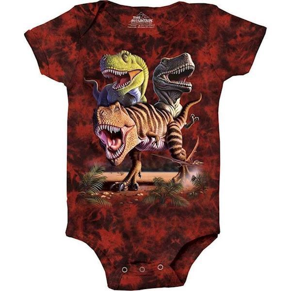 The Mountain bodystocking - babybody med tyranusaurus rex collage