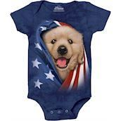 The Mountain bodystocking - babybody med patriotisk golden retriever hvalp