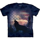 The Mountain tshirt - bluse med patriotisk ulvemotiv